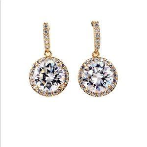 Simple gold large crystal earrings